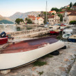 Fishing boats in Perast town.  Bay of Kotor, Montenegro — Zdjęcie stockowe