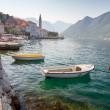 Stock Photo: Bay of Kotor landscape with small boats. Old Perast town, Montenegro
