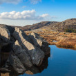 Small still lake and stones in Norwegian mountains — Stock Photo #36846419