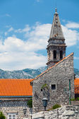 St. Nicholas Church bell tower in Perast town. Bay of Kotor — Stock Photo