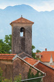 Ancient Orthodox Church tower in Perast. Bay of Kotor — Stock Photo