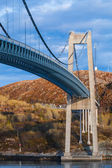 Automobile cable-stayed bridge in Rorvik town, Norway — Stockfoto