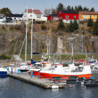 Fishing and pleasure boats moored in Norway — Stock Photo