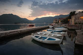 Fishing boats float moored in Perast. Bay of Kotor, Montenegro — Stockfoto