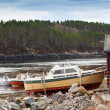 Small motor boats stand on the coast in Norway — Stock Photo