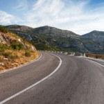 Turn of rural mountain highway in Montenegro — Stock Photo