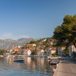 Adriatic sea, Montenegro, Bay of Kotor. Perast town main street — Stock Photo