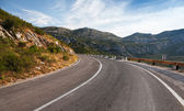 Turn of rural mountain highway in Montenegro — Стоковое фото