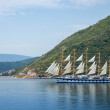 Big sailing ship goes on Bay of Kotor — Stock Photo