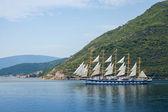 Big sailing ship goes on Bay of Kotor — Stock Photo