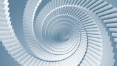 Blue 3d illustration background with spiral stairs perspective — Stock Photo