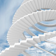 White spiral stairs goes in the cloudy sky — Stock Photo #37660967