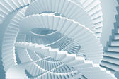 Abstract background with light blue spiral stairs maze — Photo