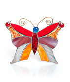 Handmade stained glass butterfly isolated on white — Stockfoto