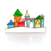 Handmade stained glass castle isolated on white — Stock Photo