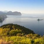 Morning on the Adriatic Sea. Coastal landscape with small island — Stock Photo