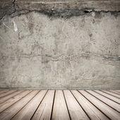 Empty gray concrete interior background with wooden floor — Stock Photo