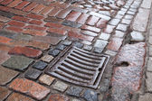 Wet drainage cover on stone pavement of urban road — Stock Photo