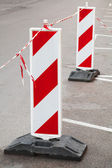 Red and white barrier signs. Road under construction — Stock Photo