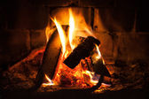 Natural photo background with fire in fireplace — Stock Photo