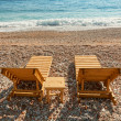 Stock Photo: Wooden sun loungers stand on Adriatic Secoast