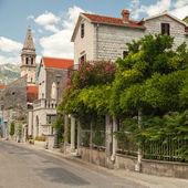 Main street of old coastal town Perast in Montenegro — Stock Photo