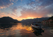 Small boat floats moored in Perast. Kotor Bay, Montenegro — Stock Photo