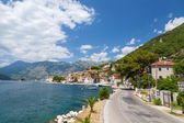 Main coastal road in old Perast, Bay of Kotor, Montenegro — Stock Photo