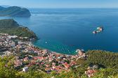 Adriatic Sea Coast Landscape. Petrovac town, Montenegro — Stock Photo