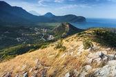 Montenegro. küsten berglandschaft mit getrocknetem gras auf dem felsen — Stockfoto