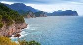 Adriatiska havet kustlandskap. petrovac stad, montenegro — Stockfoto