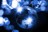 Blue disco background with mirror ball and lights — Стоковое фото
