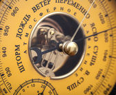 Closeup fragment of vintage yellow Russian barometer — Стоковое фото