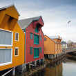 Colorful wooden houses in fishing village. Rorvik, Norway — Stock Photo #40064613