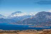 Coastal Norwegian mountain landscape with sea water in fjord — Stock Photo