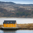 Yellow wooden house stands on the seacoast in Norway — Stock Photo #40133633