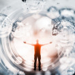 Abstract concept illustration with man inside fantasy background — Stock Photo