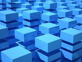 Abstract 3d illustration with array of blue and white boxes — Stock Photo