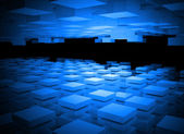 Abstract digital background with blue boxes layers — Stock Photo