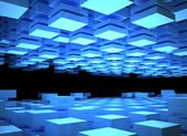 Abstract digital background with illuminated blue boxes — Stock Photo