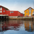 Red and yellow wooden coastal houses in Norwegian fishing village — Stock Photo #40580475