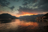 Colorful sunset on Adriatic Sea, Bay of Kotor, Montenegro — Stockfoto