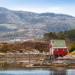 Old red wooden house stands on the sea coast in Norway — Stock Photo