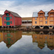 Stockfoto: Red and yellow wooden houses in small Norwegivillage