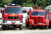 Photo of red firefighters trucks based on TAM and FAP Yugoslavian and Serbian commercial vehicle manufacturers — Stock Photo