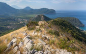 Coastal mountain landscape with dry grass on rock, Montenegro — Stock Photo