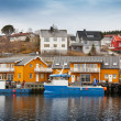 Norwegian fishing village with wooden houses on the coast — Stock Photo #41473845