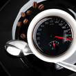 Stock Photo: Coffee cup with speedometer, metaphor of people acceleration