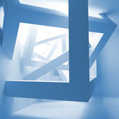 Blue abstract 3d interior with construction of cubes — Stockfoto