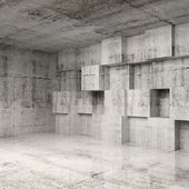 Abstract concrete 3d interior with cubes on the wall — Stock Photo
